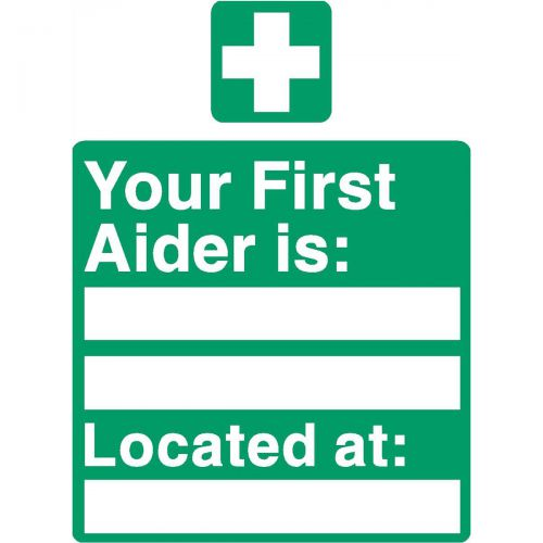 Stewart Superior Your First-Aider Is Located At Sign W150XH200mm Self Adhesive Sign Ref SP049SAV