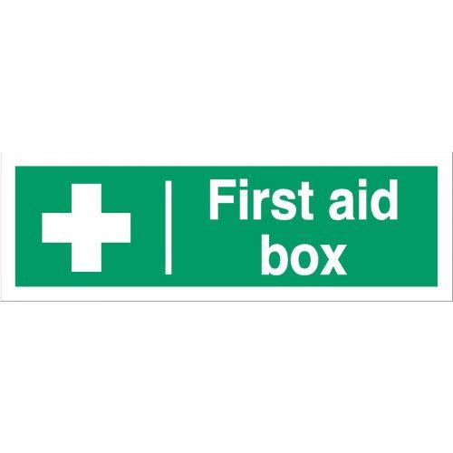Stewart Superior First Aid Box Sign W300xH100mm Self Adhesive Vinyl Ref SP058SAV