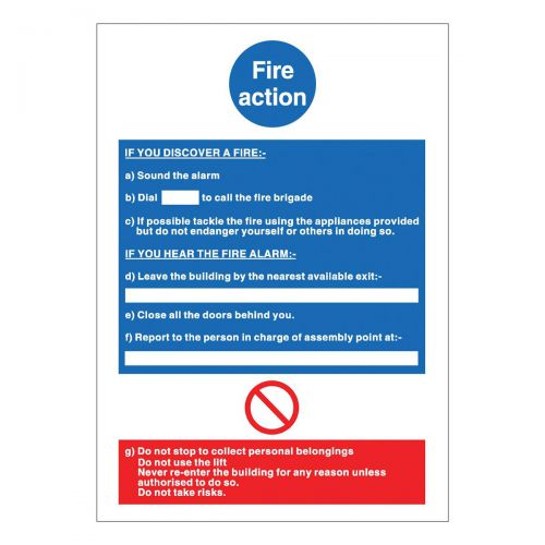 Stewart Superior Fire Action Sign W210xH297mm PVC Ref M011PVC