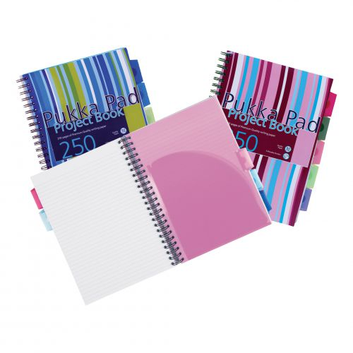 Pukka Pad Project Book A4//A5 250 Pages Feint Ruled Pink//Blue Wirebound Notebook