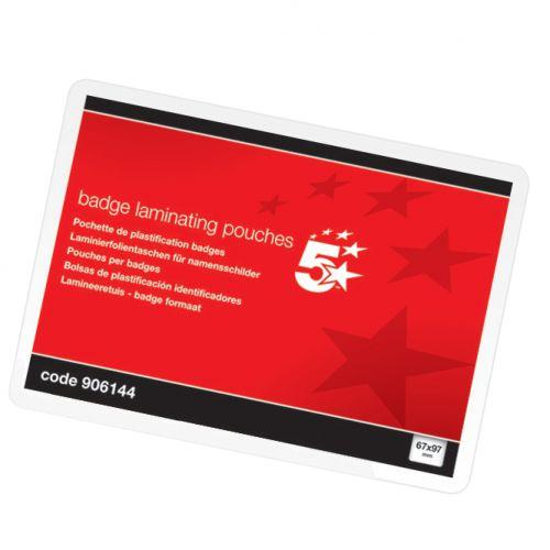 Badge Gloss Laminating Pouches 67x97mm 250 Micron Pk100 (906144)