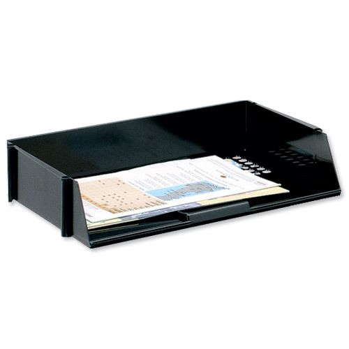 Basic Letter Tray Wide Entry High-impact Polystyrene Stackable Black
