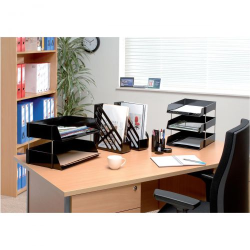 5 Star Office Letter Tray High-impact Polystyrene Foolscap Grey