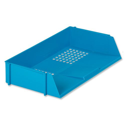 Basic Letter Tray Wide Entry High-impact Polystyrene Stackable Blue