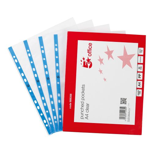 5 Star Office Punched Pocket Polypropylene Embossed Blue Strip Top-opening 60 Micron A4 Clear [Pack 100]