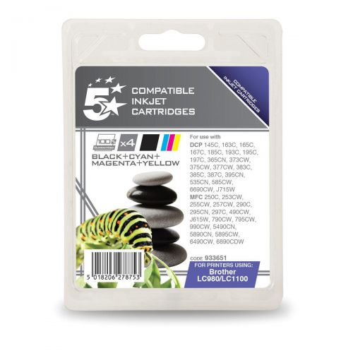5StarOffice Remanufactured IJCartridges 450ppBlack325pp Cyan/Magenta/Yellow[Brother LC1100VALBP] [Pack 4]