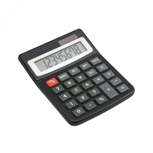5 Star Office Desktop Calculator 8 Digit Display 3 Key Memory Battery/Solar Power 100x13x130mm Black