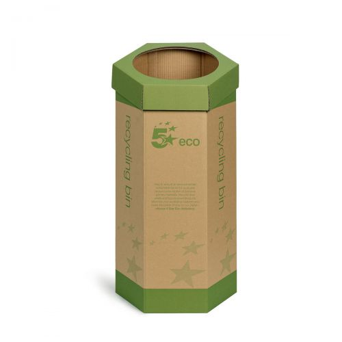 5 Star Eco Recycling Bin for Paper 120 Litres Base of 355mm Height of 679mm Green/Brown [Pack 3]