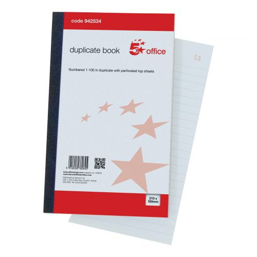 5 Star Office Duplicate Book with Carbon Ruled Indexed and Perforated 100 Sets 210x130mm