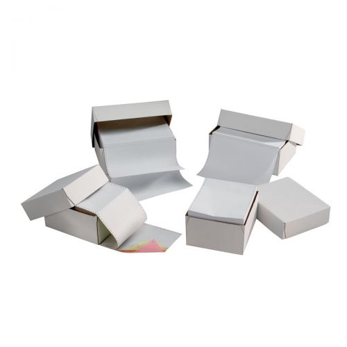 5 Star Office Listing Paper 3-Part Carbonless Perf 56/53/57 11inchx241mm White/Yellow/Pink [700 Sheets]