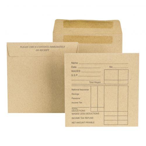 New Guardian Envelopes FSC Wage Pocket Self Seal Med Wght 80gsm 108x102mm Pre-Printed Manilla [Pack 1000]