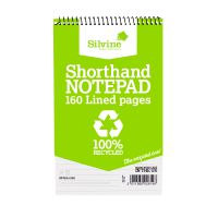 Silvine Spiral Bound Shorthand Pad Recycled 5x8 inches 80 Leaf 12 pack RE160-T