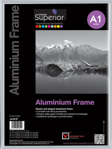 Photo Frame Clip-down Aluminium with Non-glass Perspex Front Back-loading A1 594x841mm Silver