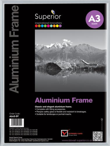 Photo Frame Clip-down Aluminium with Non-glass Perspex Front Back-loading A3 420x297mm Silver