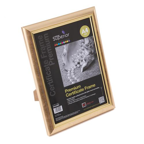 Deluxe Certificate Frame Non-Glass A4 Gold GDA4CERT