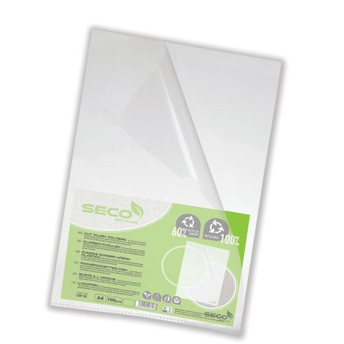 Stewart Superior Eco Cut Flush Folder Clear (Pack of 100) LSF-CL