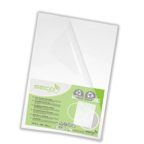 Stewart Superior Seco CutFlush Folder A4 Clear (Pack of 25) LSF-CL/25