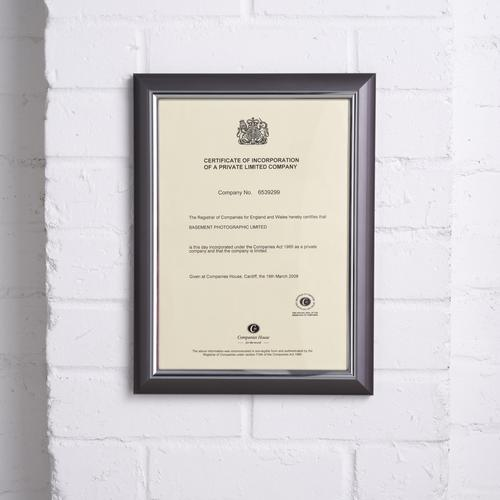 5 Star Facilities Snap De Luxe Certificate Frame Holds Standard A4 Certificates W210xD25xH297mm Smoke by The OT Group, 163576