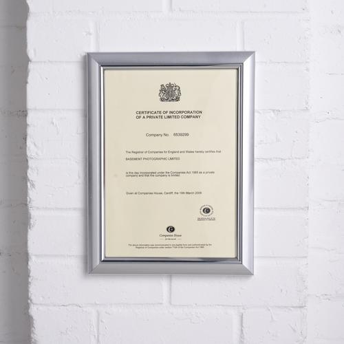 5 Star Facilities Snap De Luxe Certificate Frame Holds Standard A4 Certificates W210xD25xH297mm Silver by The OT Group, 163608