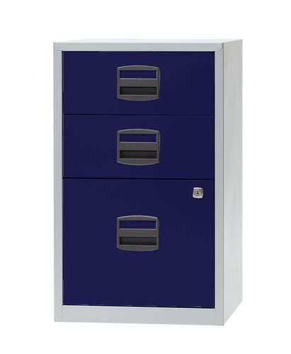 Bisley A4 Non-Mobile Home Filer 3 Drawer Grey/Blue