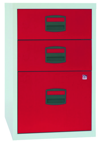 Bisley A4 Non-Mobile Home Filer 3 Drawer Grey/Red