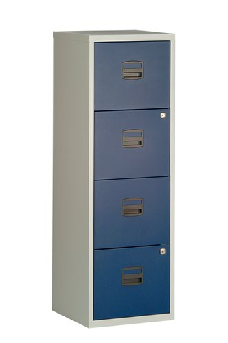 Bisley A4 Personal And Home Filer 4 Drawer Grey/Blue