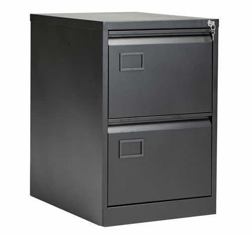 Bisley 2 Drawer Contract Steel Filing Cabinet - Black