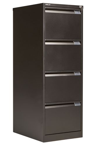 Bisley 4 Drawer Classic Steel Filing Cabinet - Black