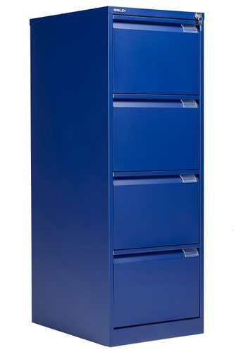 Bisley 4 Drawer Classic Steel Filing Cabinet - Blue