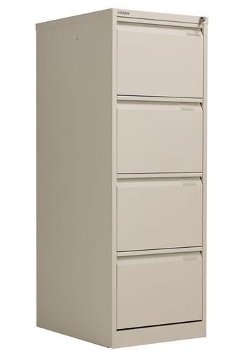 Bisley 4 Drawer Classic Steel Filing Cabinet - Goose Grey