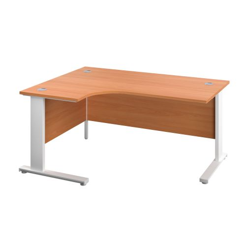 1200X1200 Cable Managed Upright Left Hand Radial Desk Beech-White
