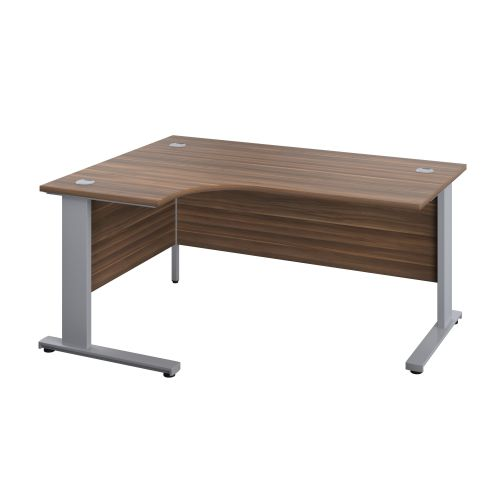 1200X1200 Cable Managed Upright Left Hand Radial Desk Dark Walnut-Silver