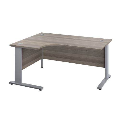 1200X1200 Cable Managed Upright Left Hand Radial Desk Grey Oak-Silver