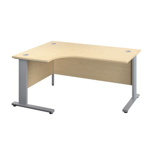 1200X1200 Cable Managed Upright Left Hand Radial Desk Maple-Silver