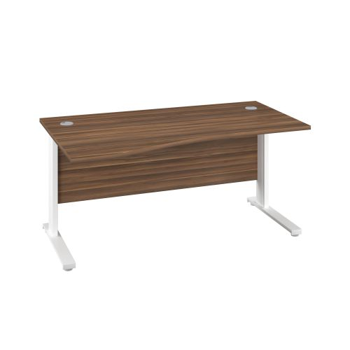 1400X1000 Cable Managed Upright Left Hand Wave Desk Dark Walnut-White
