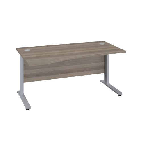 1400X1000 Cable Managed Upright Left Hand Wave Desk Grey Oak-Silver