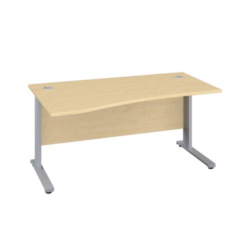 1400X1000 Cable Managed Upright Left Hand Wave Desk Maple-Silver