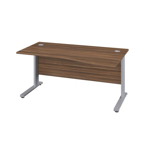 1400X1000 Cable Managed Upright Right Hand Wave Desk Dark Walnut-Silver