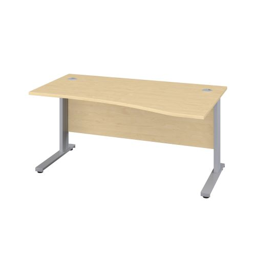 1400X1000 Cable Managed Upright Right Hand Wave Desk Maple-Silver