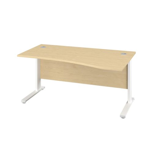 1400X1000 Cable Managed Upright Right Hand Wave Desk Maple-White