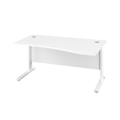 1400X1000 Cable Managed Upright Right Hand Wave Desk White-White