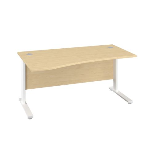 1600X1000 Cable Managed Upright Left Hand Wave Desk Maple-White