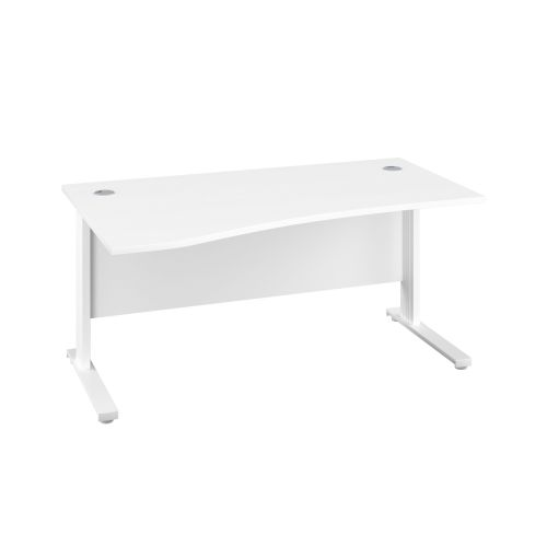 1600X1000 Cable Managed Upright Left Hand Wave Desk White-White