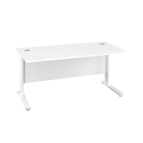 1800X600 Cable Managed Upright Rectangular Desk White-White