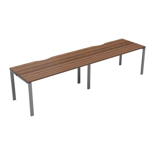 CB 2 Person Single Bench 1400 X 800 Cut Out Dark Walnut-Silver