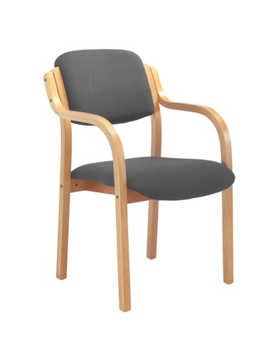 First Wooden Frame Side Chair with Arms Charcoal CH0706CH