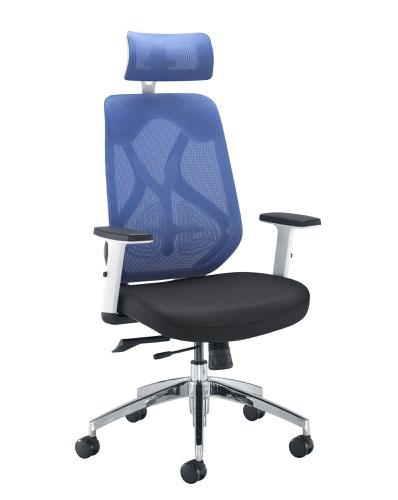 Maldini High Back Blue Mesh Chair Black Upholstered Seat