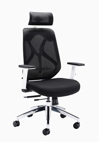 Maldini High Back Mesh Chair White Plastic And Black Mesh
