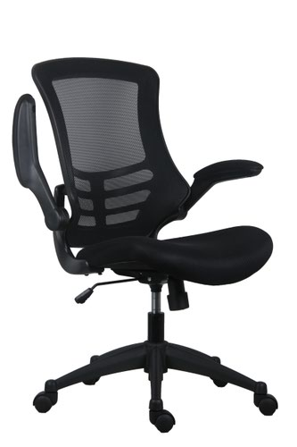 Marlos Mesh Back Office Chair With Folding Arms - Black