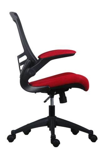 Marlos Mesh Back Office Chair With Folding Arms - Red